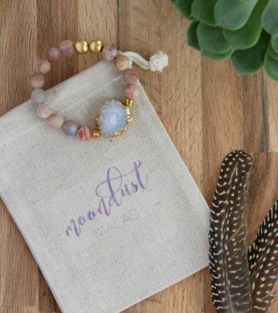 sunstone bracelet, white druzy