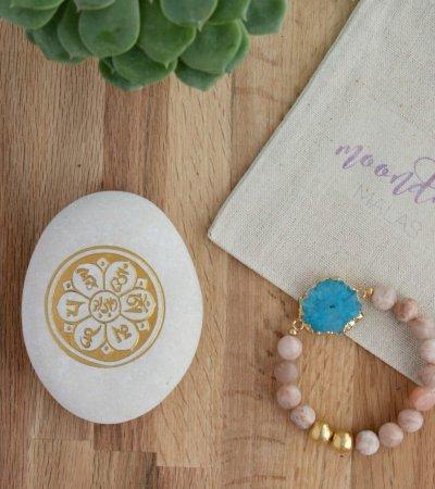 sunstone blue druzy bracelet