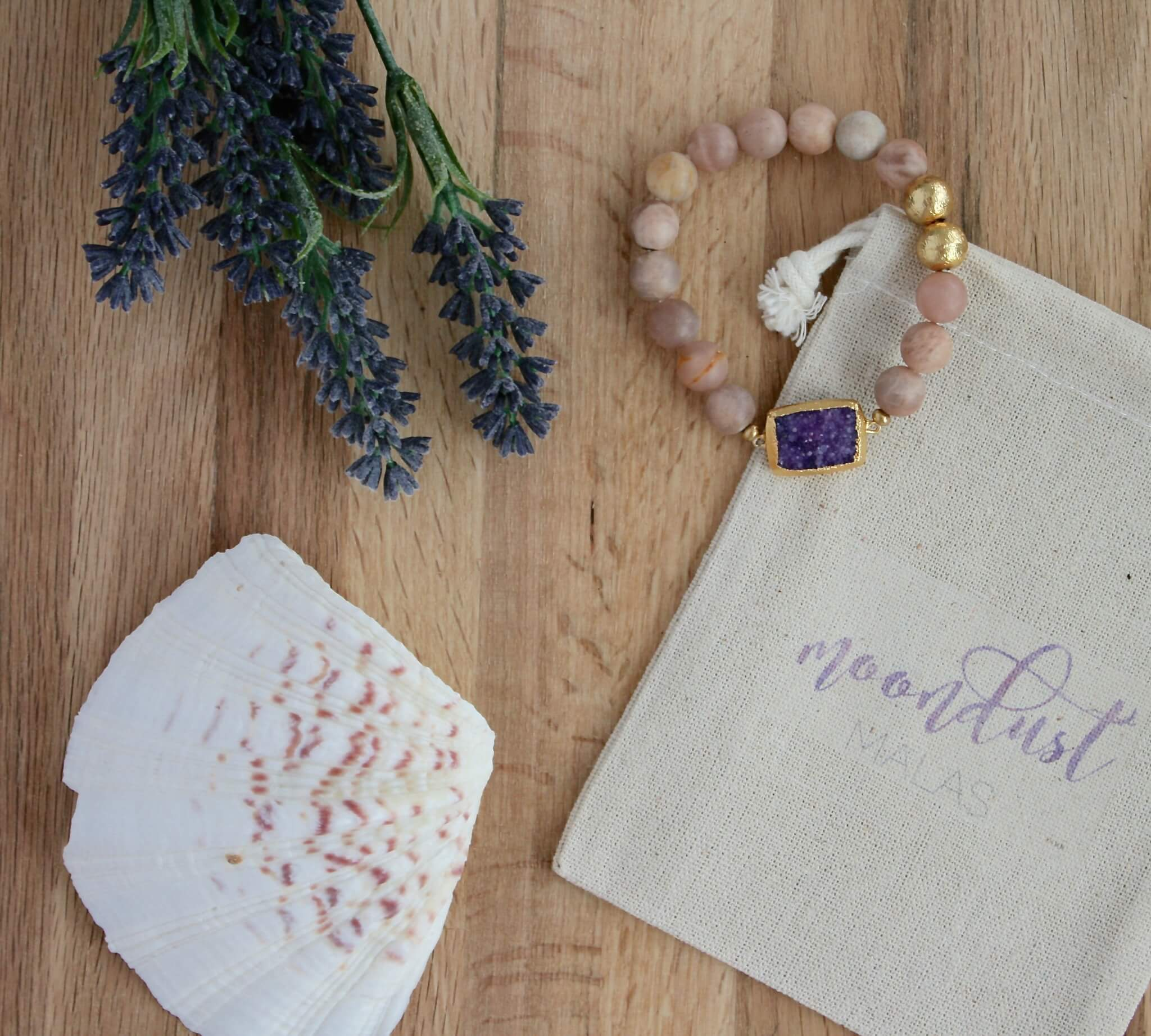 sunstone purple druzy bracelet