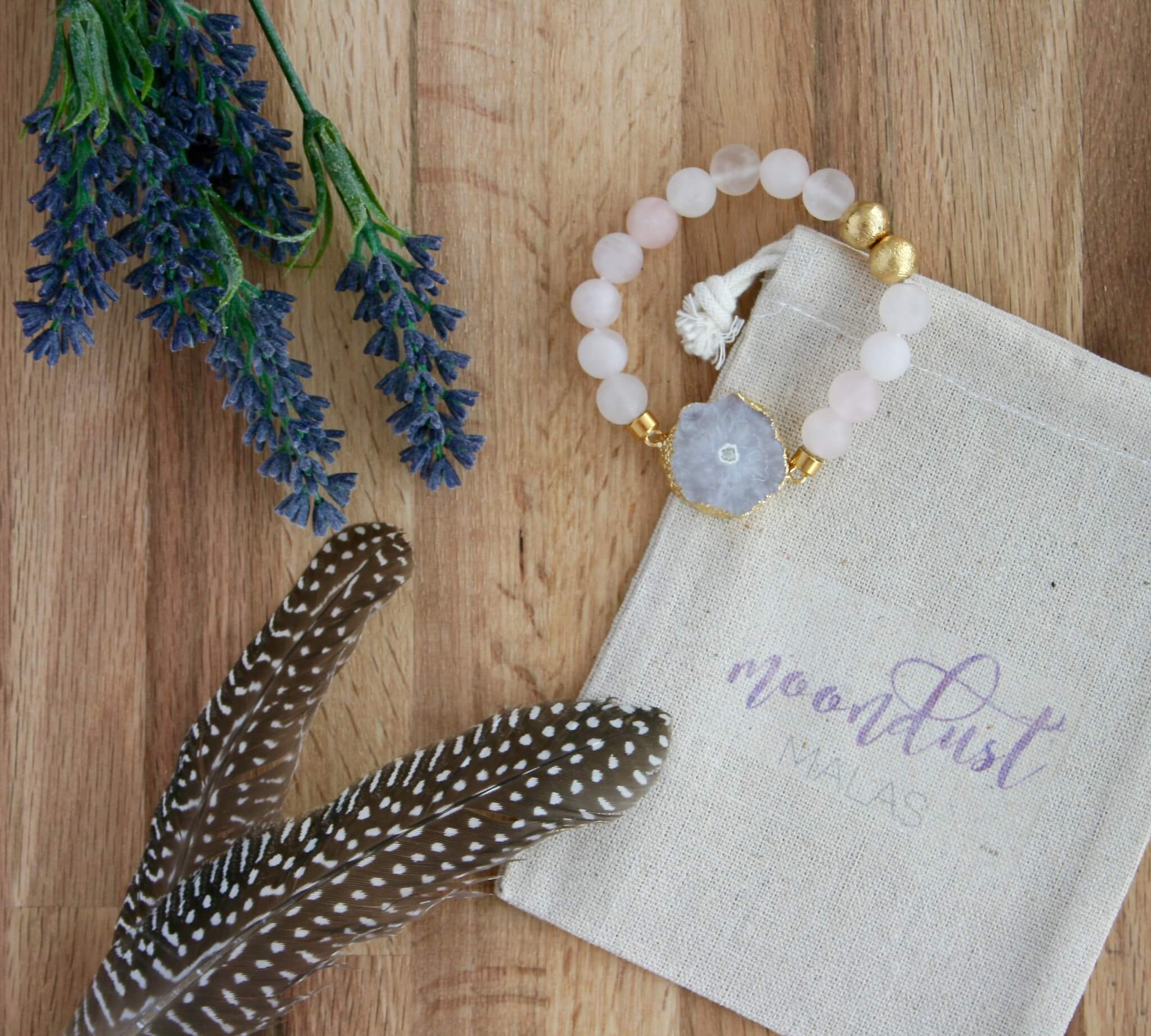 rose quartz bracelet with white druzy