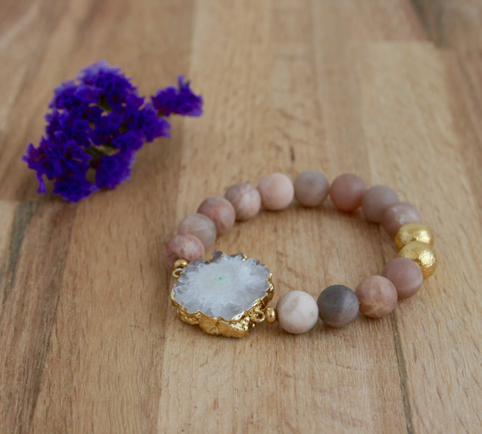 sunstone bracelet with white druzy