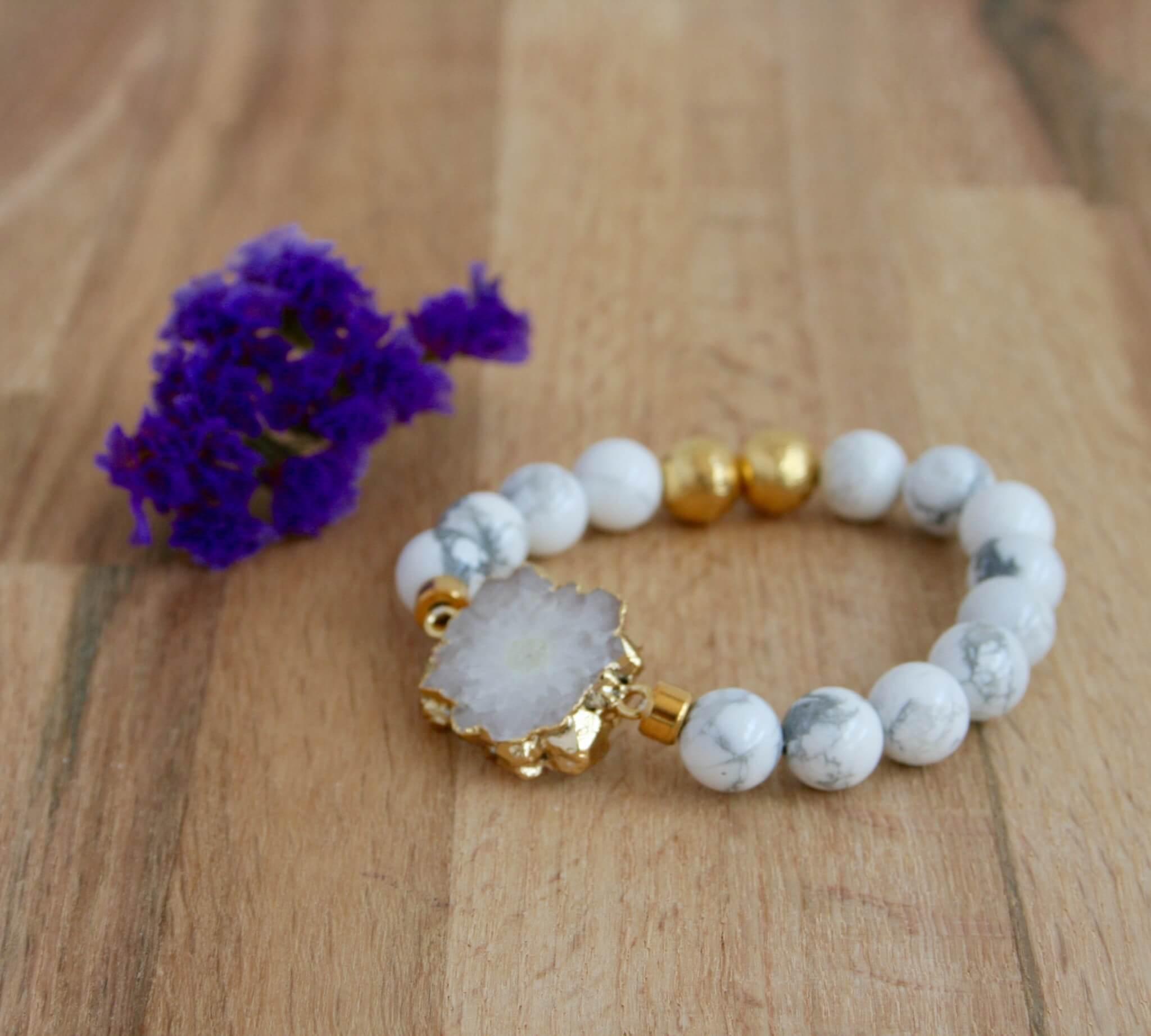 white druzy howlite bracelet