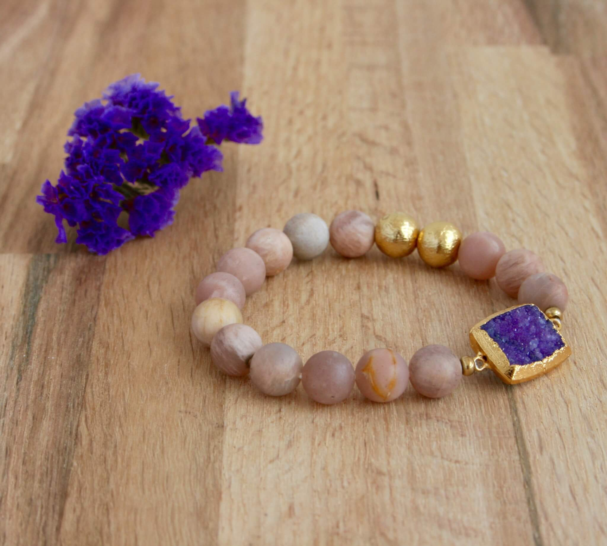 sunstone with purple druzy bracelet