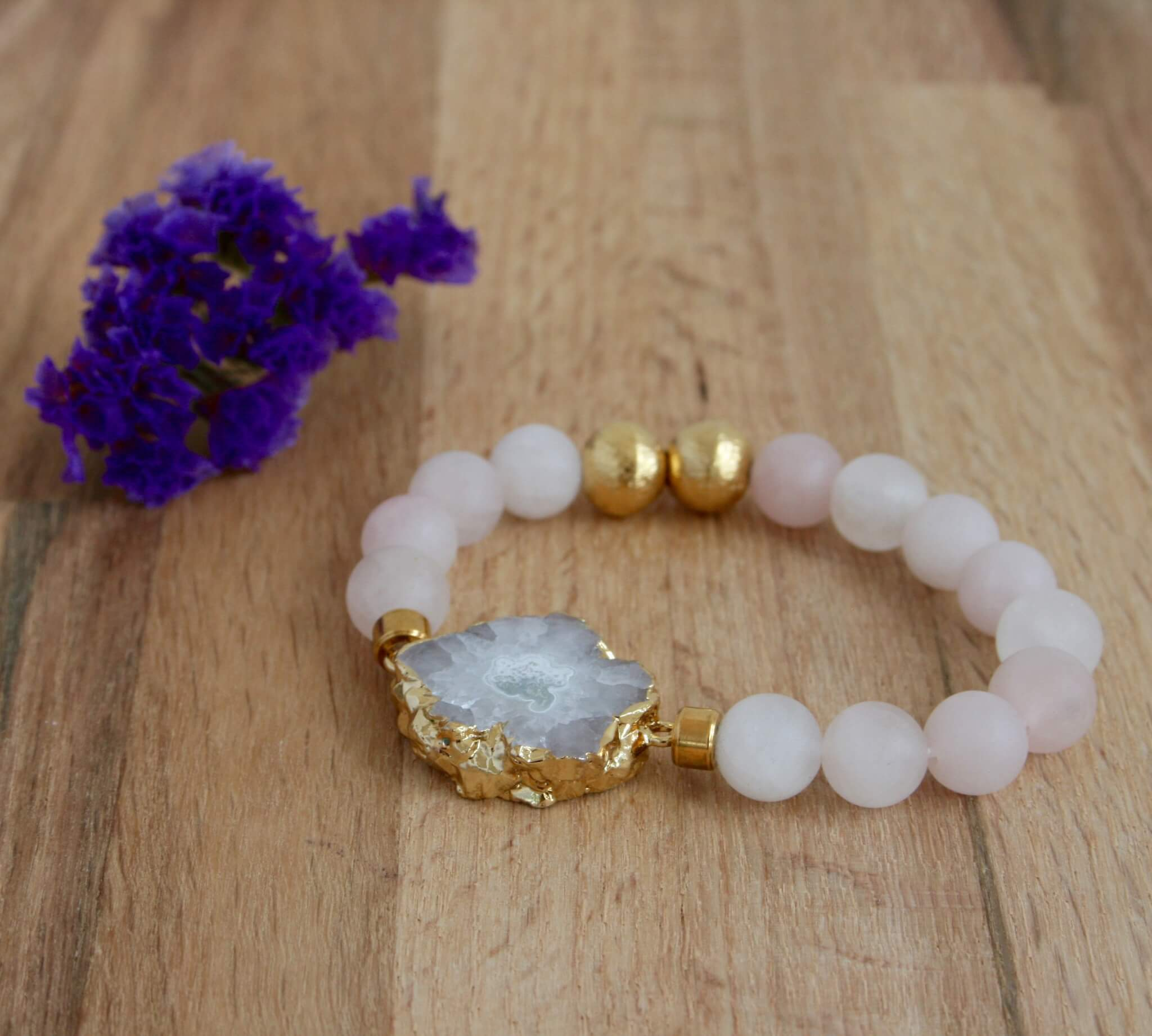 rose quartz bracelet white druzy