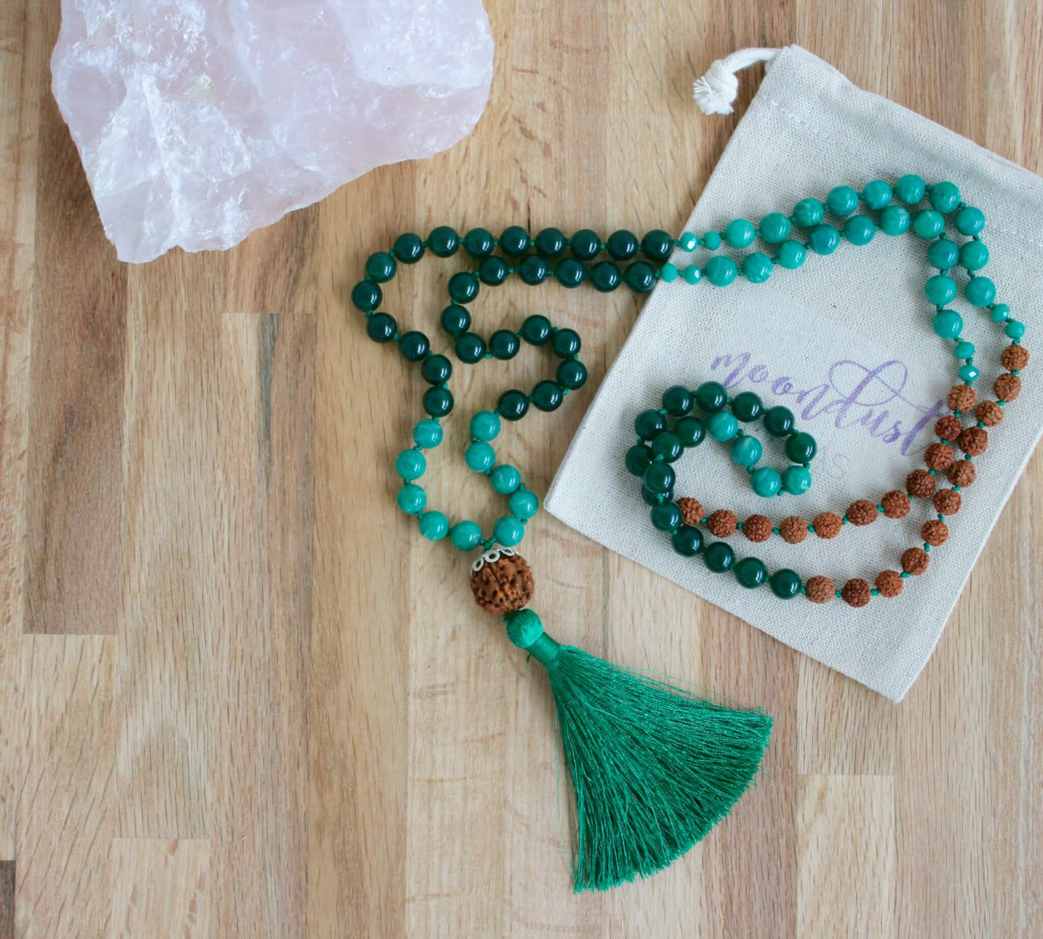 rainforest necklace, jade, amazonite, rudraksha
