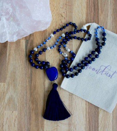 lapis lazuli mala midnight sky