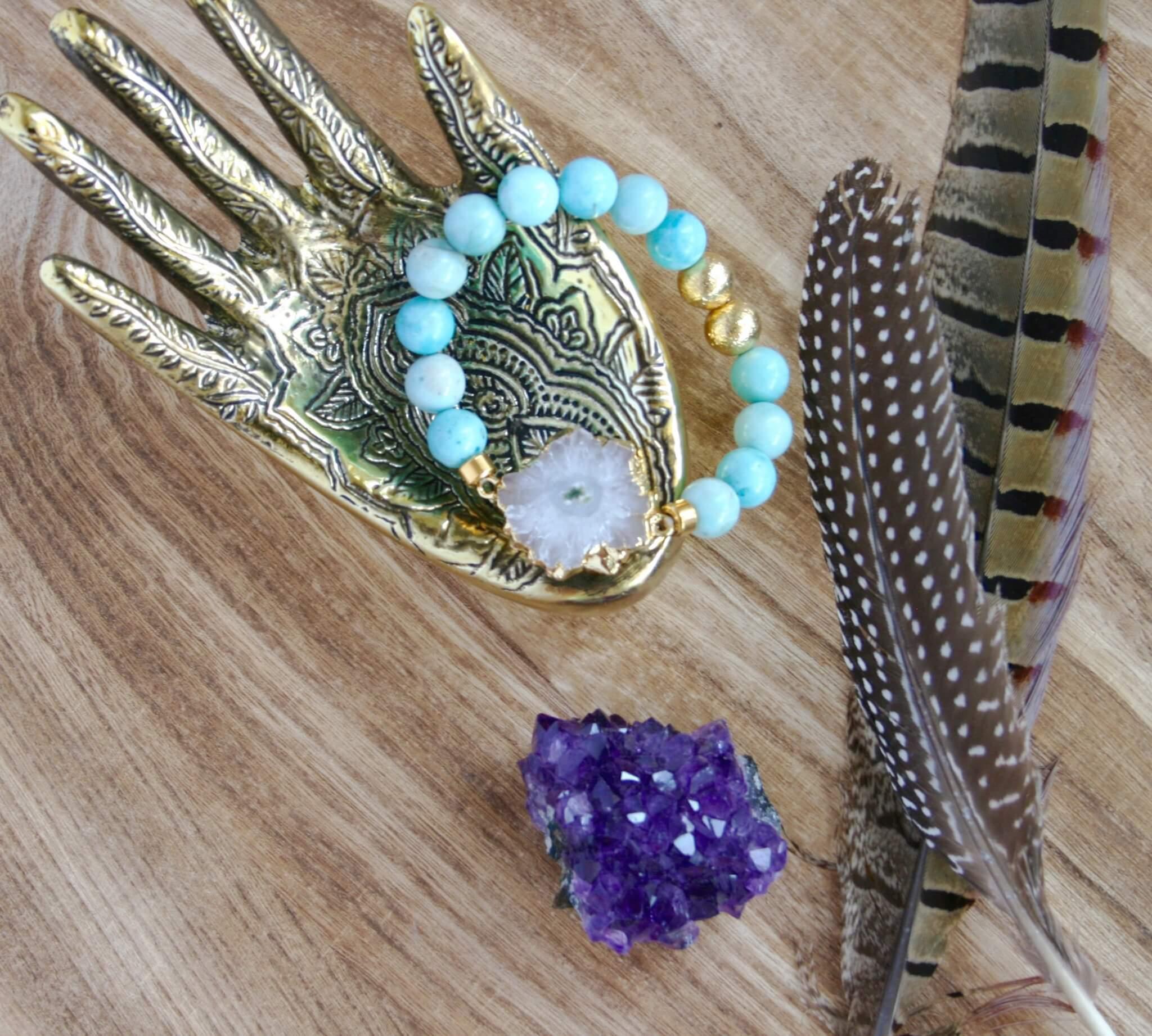 larimar bracelet white druzy