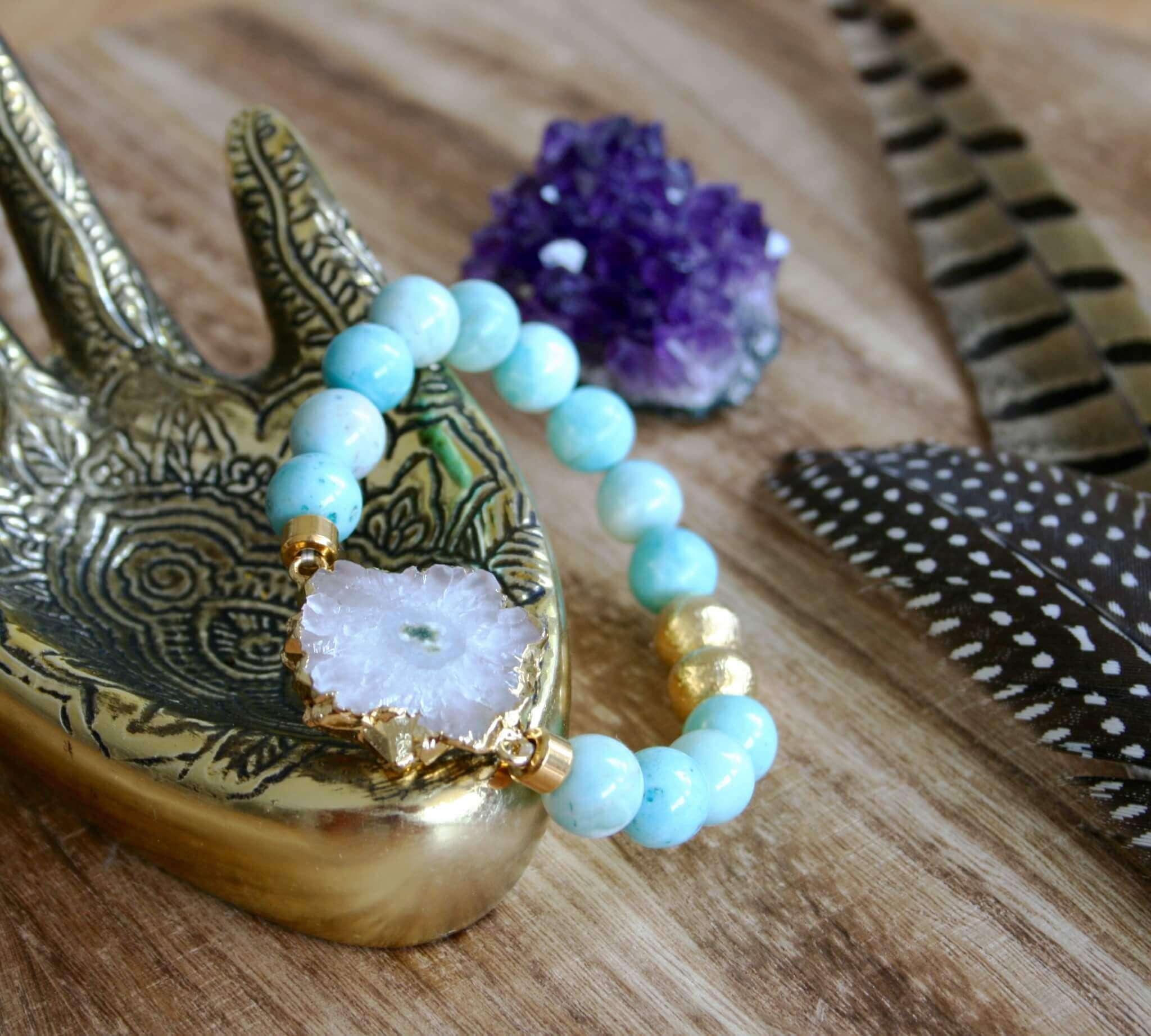 larimar bracelet with white druzy