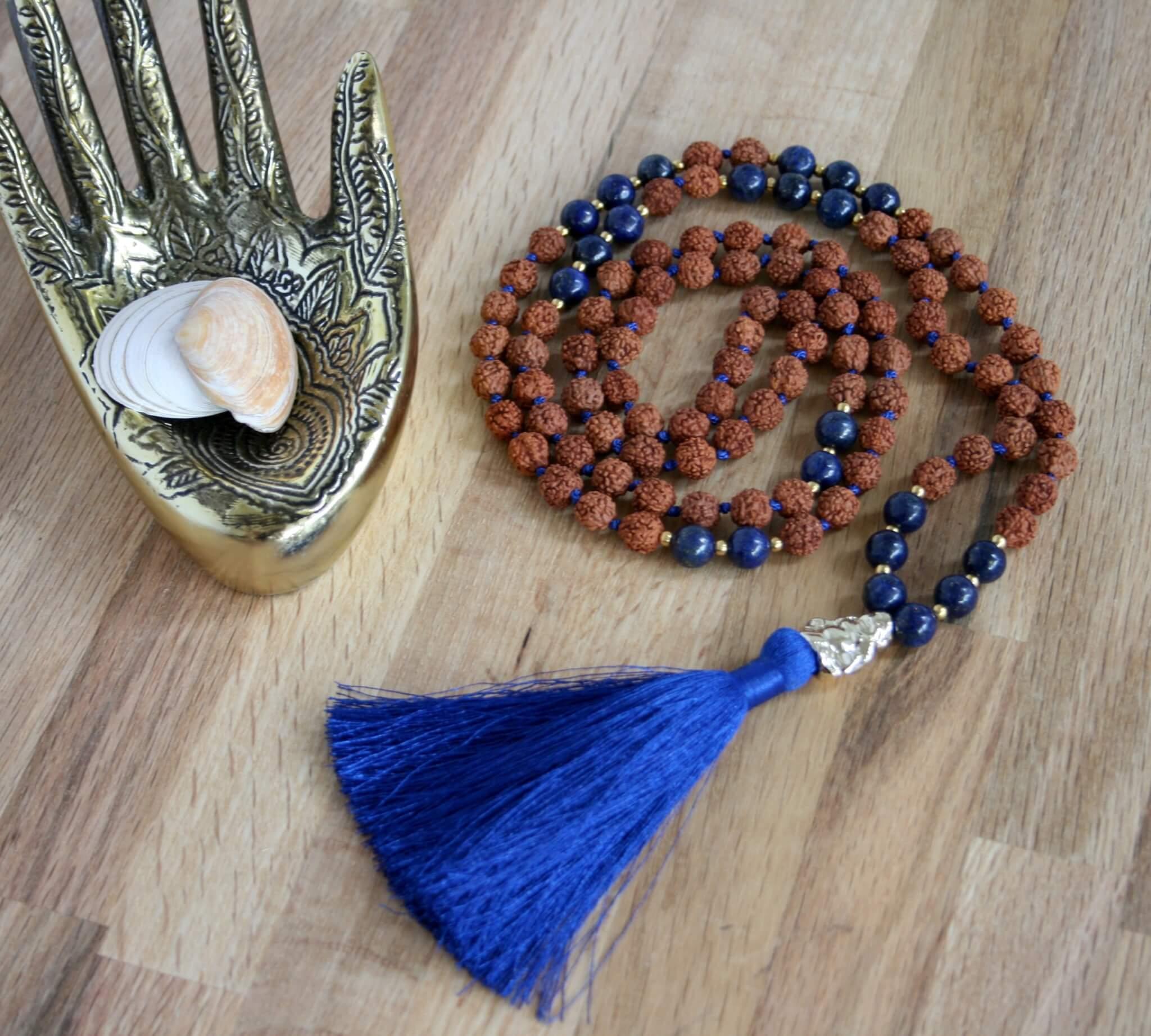mystic river mala, lapis lazuli, rudraksha