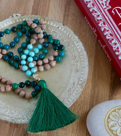 heart and soul mala, chrysocolla, amazonite