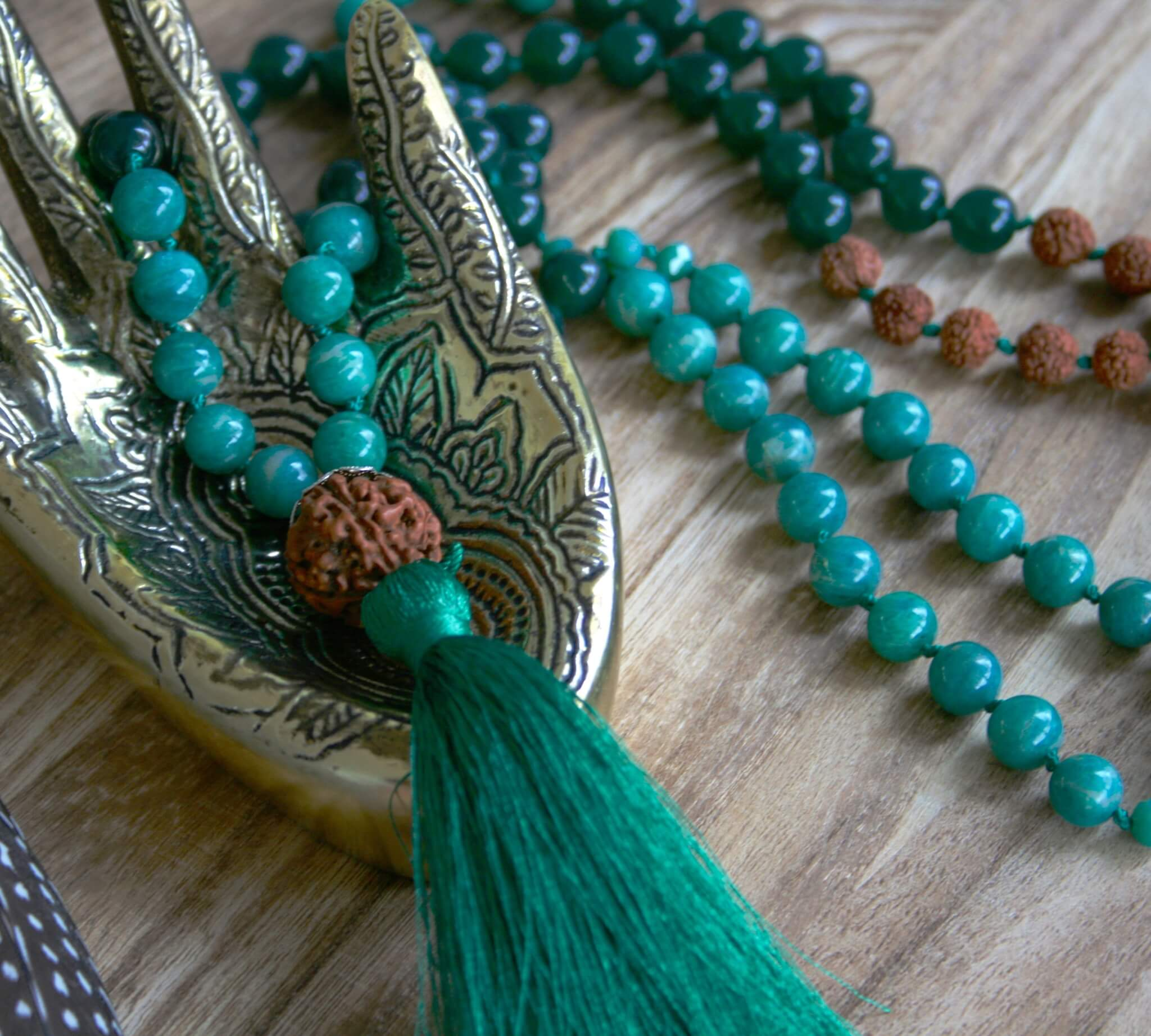 rainforest mala necklace, jade, amazonite