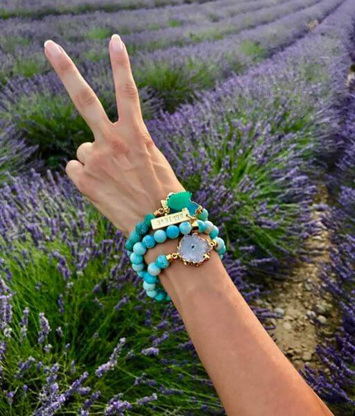 white druzy, larimar bracelet