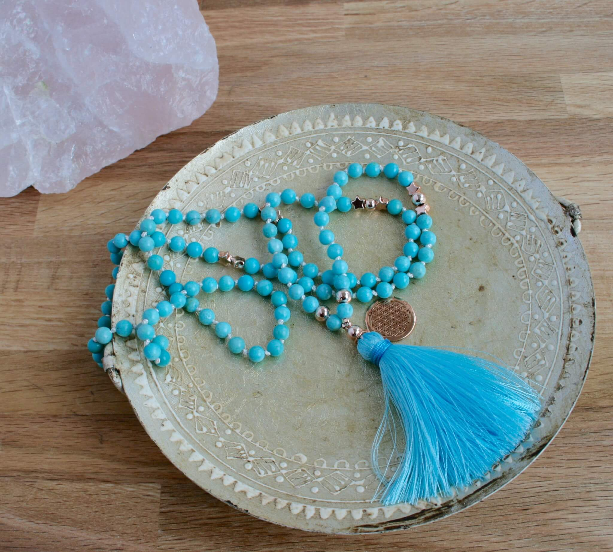 wild mala, blue larimar, rose gold